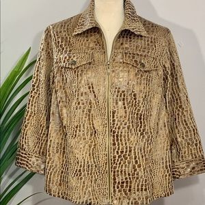 Ruby Rd Woman Jacket Faux Leather Animal Print
